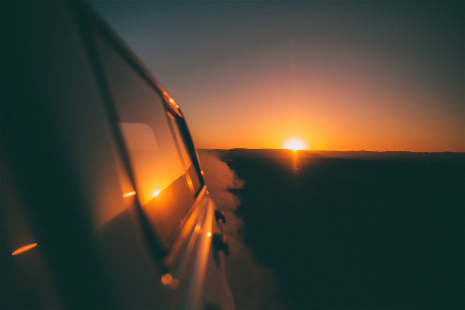 Roadtrip with Sunset view
