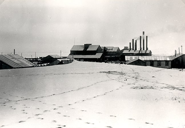 The whaling station in Walvis Bay. It was completely destroyed by a fire on 31 May 1950.  (Source: Namibia Scientific Society)