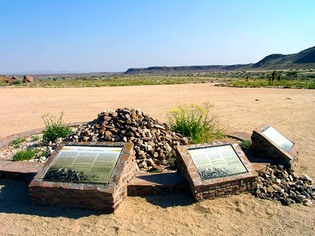 Information boards on Haitsi Aibebs in front of the reception of Canyon Village. (Photo: Gondwana Collection)