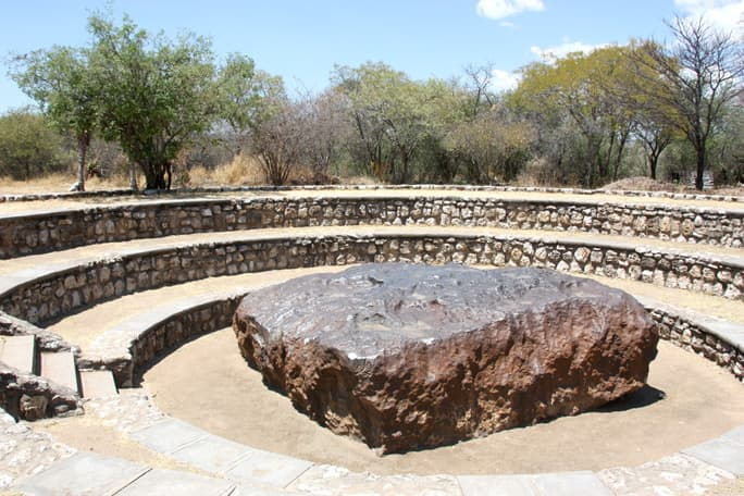 The meteorite on the farm Hoba, some 20 km west of Grootfontein.