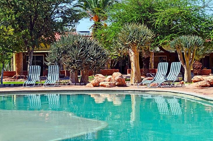 Something old, something new: The beautiful courtyard at the Kalahari Anib Lodge will be left as is.