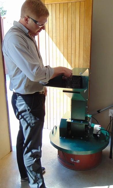 James Hirst and the glass crusher machine