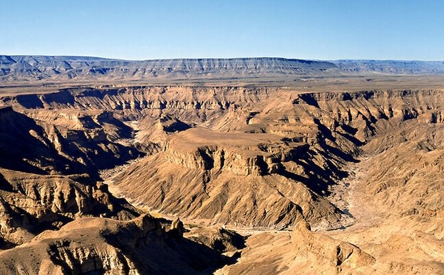 """""""Hell's Bend"""" in the Fish River Canyon at the main viewing point."""