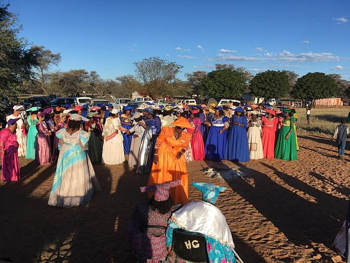 The Herero women in their traditional dresses
