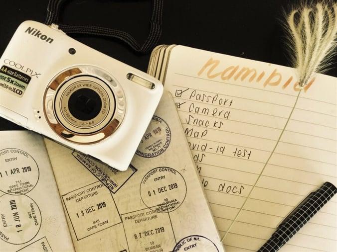 Passport, Camera, Notebook