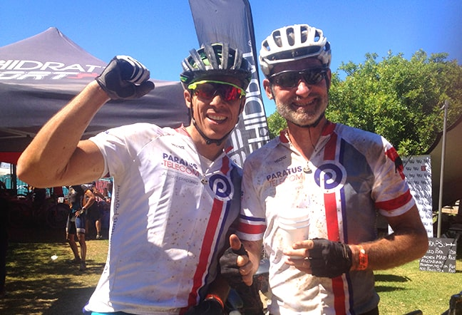 Piet Swiegers (r) after the W2W Race in South Africa with his partner Ian Grassow.