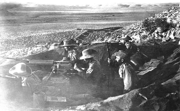 A well emplaced Schutztruppe machine gun position commanding the flat terrain in front of it at Aus. (Museum Africa)