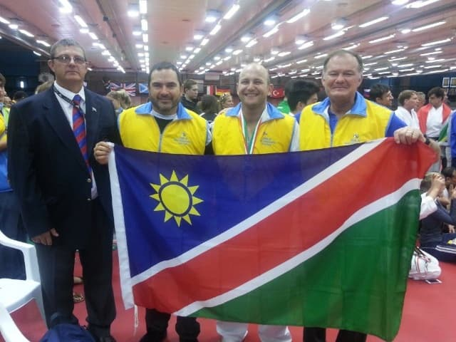 Sensei Willem Burger (right) with some of the other Namibian karatekas who attended the JSKA World Karate Championships in Italy