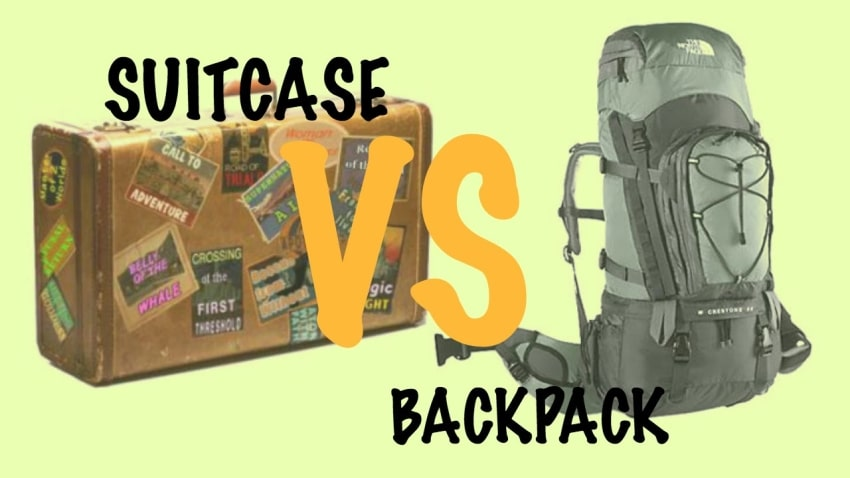Suitcase vs backpack. Image: You Tube