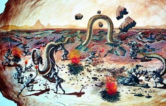 Nama legend about how the Fish River Canyon was formed. Source: mural in the Cañon Village