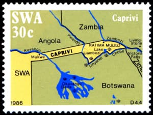 Caprivi (map), series of four stamps, issued in 1986
