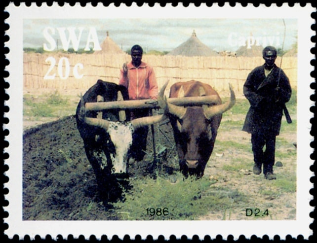 Caprivi (ox-drawn sleigh), series of four stamps, issued in 1986