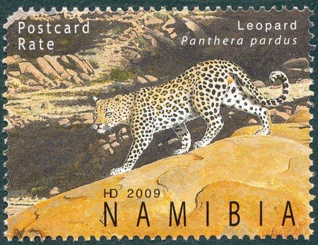 Leopard Panthera pardus, issued in 2009, artist: Helge Denker