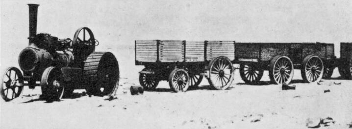 The steam ox with three wagons. Source: National Archives
