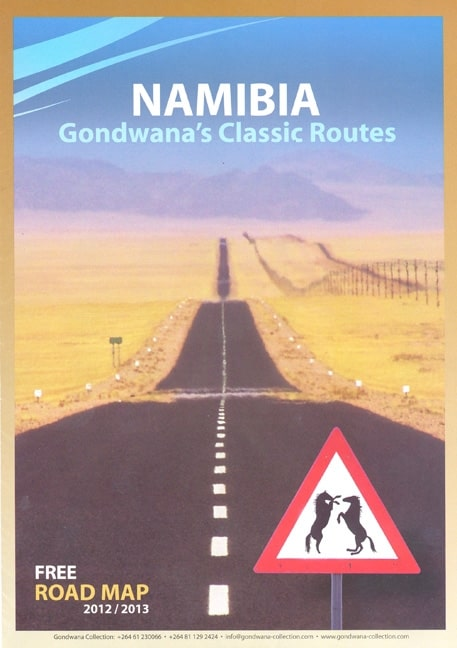 Namibia map with routes, lodges and stories