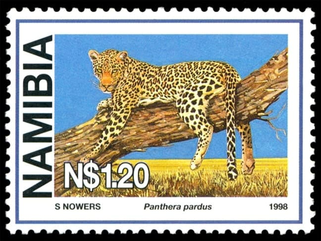 Panthera pardus, issued in 1998, artist: Sheila Nowers