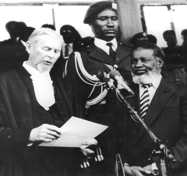 Resistance leader becomes president: Sam Nujoma is sworn in by the Chief Justice Hans Berker on 21 March 1990. Photo: National Archives