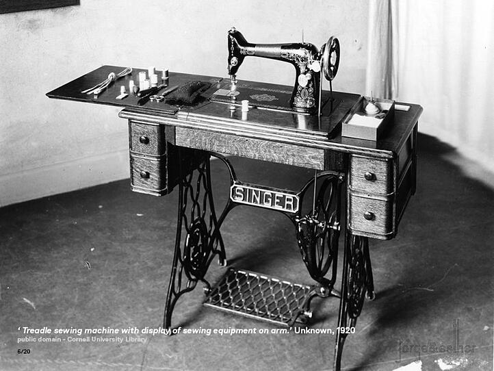 """"""" A new breed of sewing-machine pioneers emerged mid-century"""" - Image: www.emaze.com"""