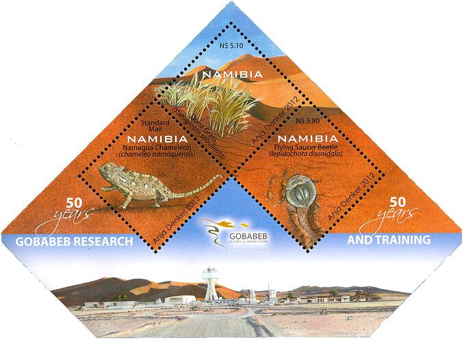 Gobabeb has more than earned the sheet of three stamps that NamPost issued in 2012 on the occasion its 50-year jubilee. Source: Nampost, artist: Anja Denker