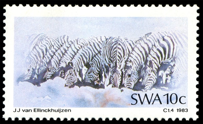 Zebras (10 Cent), issued in 1983, artist: Jacobus Johannes 'Koos' van Ellinckhuijzen