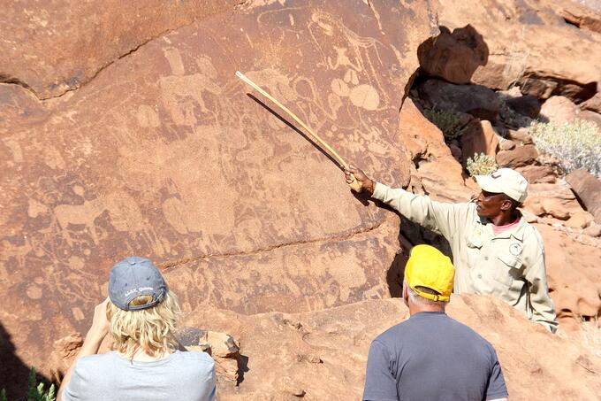 Visitors can explore the Twyfelfontein engravings on a guided walk.