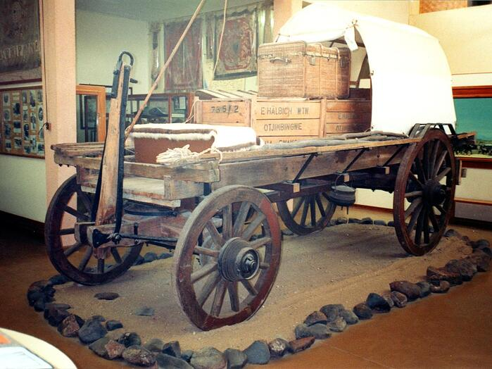 Otjimbingwe wagon in the Swakopmund museum.