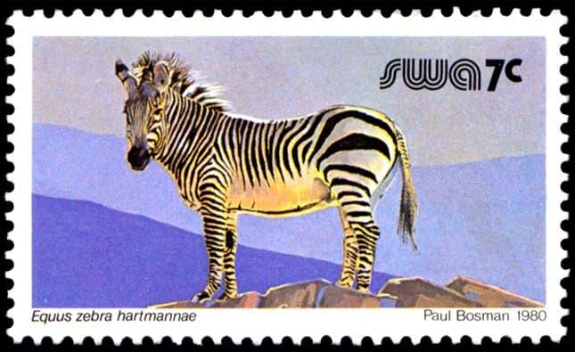 Equus zebra hartmannae (7 Cent), issued in 1980, artist: Paul Bosman